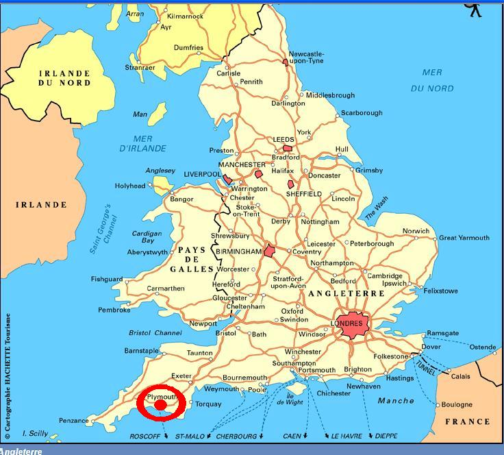 Carte Angleterre Plymouth.Plymouth